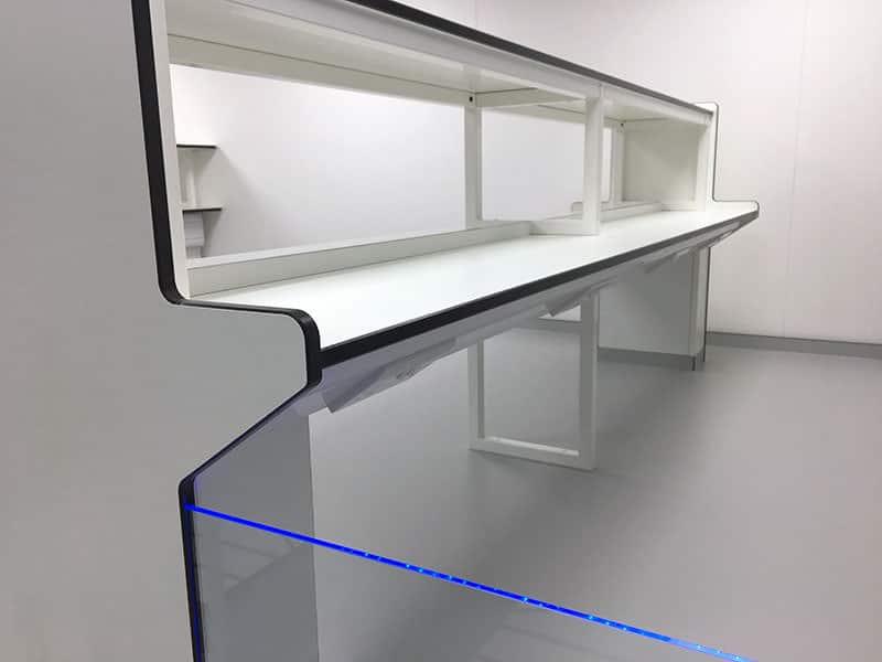 angled electrical service reagent shelf