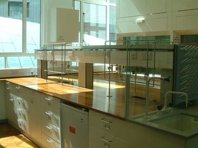 chemistry laboratory with iroko worktops